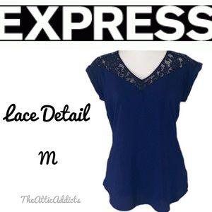 Lace Blouse T shirt size M Navy & Black Express